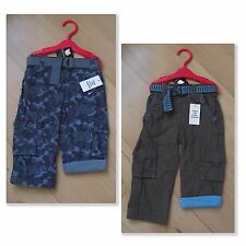 NEW Baby Boys Lined Trousers 6-12 Months In Blue Camouflage or Brown With Belt