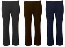 NEW LADIES FINELY RIBBED BOOTLEG STRETCH ELASTICATED TROUSERS Size S-XXXL