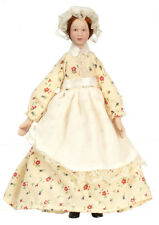 Dollhouse Miniature Doll  Maid Yellow Dress Porcelain 1:12 Scale