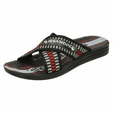 Mens Sandos black textile strap slip on mule sandal with redwhite sticthing P508