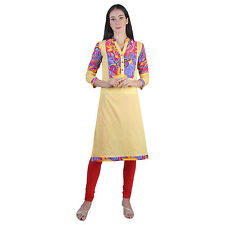 Vipakshi Women's Yellow Printed Cotton Kurti (RS-5300 K)