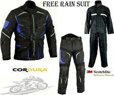 BLUE SPEED MAX MOTORBIKE MOTORCYCLE TEXTILE JACKET TROUSERS SUIT & RAIN SUIT