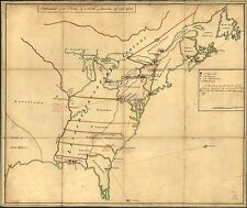 Poster Print Antique American Military Map American Indian