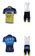Saxo-Tinkoff Cycling Clothing Jersey & Bib Pants Kit Sets Coolmax Padding A1