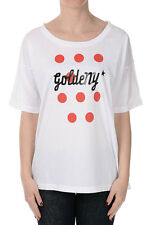 GOLDEN GOOSE Women White Printed Cotton T-Shirt Made in Italy NWT