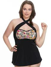 Elomi Fly Free 7519 A-Line Strapless Moulded Tankini Top Black New Swimwear