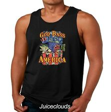 Patriotic Fishing Tank Top God Bass America American Angler USA Flag Mens Tee