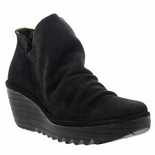 Fly London Yip Dark Brown Womens Oil Suede Pull on Wedge Heel Ankle Boots