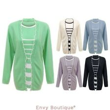 femmes à rayures tricoté Twin-set Manches Longues cardigan pull GRANDES TAILLES