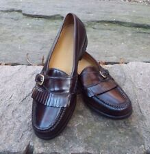 Men's Pinch Buckle Burgundy Leather Penny Loafers #03516