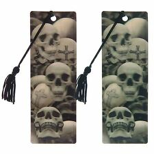 3D Bookmark Gothic Skulls 15cm High Blue or Brown Tint with Tassel