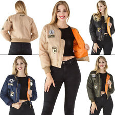 New Womens Patched Classic MA1 Vintage Biker Bomber Jacket Size 6 8 10 12 14