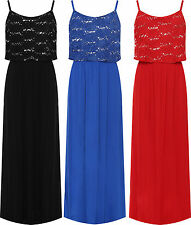 Plus Womens Strappy Layered Floral Lace Print Sequin Maxi Dress Ladies 14-28