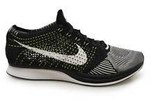 Mens Nike Flyknit Racer - 526628-011 - Black White Green Trainers