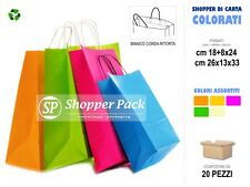 20 pz Borse Shopper di Carta Colorata - Buste shoppers carta colorati assortiti