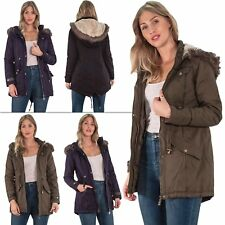 Womens Cotton Twill Parka Hooded Jacket With Two Lower Pockets