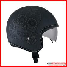 Casco Suomy Rook Calavera Grigio Old School Scratch Nero  Moto Custom Cafè Racer