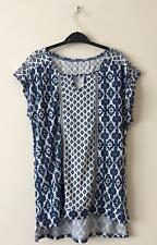 NEW TU BLUE WHITE ETNIC GEOMETRIC PRINT JERSEY TUNIC TOP 8 10 12 14 16 18 20 22