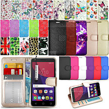 For Alcatel Various Mobile Phones Wallet Leather Case Flip Cover+ Touch Stylus