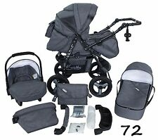 Classic Baby Pram Pushchair 2in1 or 3in1 stroller travel system – Grey 72