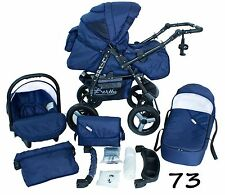 Classic Baby Pram Pushchair 2in1 or 3in1 stroller travel system – Blue
