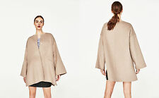 ZARA HAND MADE MANTEL SAND WOLLE COAT CAPE WOOL BEIGE M L XL OVERSIZE 5854/024