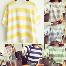 Women Girls T-shirts Tee Striped Summer Short Sleeve Tops Round Neck Casual C8