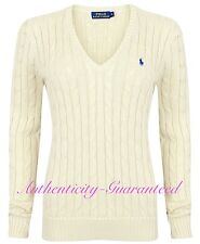 Ralph Lauren Women's Ladies Cable Knit Cotton V Neck Jumper Cream XS-XL RRP £110