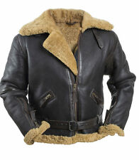 Men's RAF Brown Bomber Real Shearling Real Leather Jacket