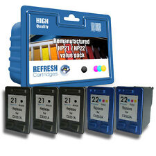 Refresh Cartuchos #21# 22 3xBK/2xCOL - 5 Pack Tinta Compatible con hp Impresoras