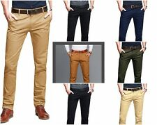 Mens Trousers Pants High Quality 100% Pure Cotton Casual Slim Fit Full Length
