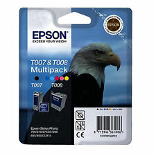 Genuino Epson Eagle Serie Negro y color Cartucho de Tinta PAquete Doble T007 &