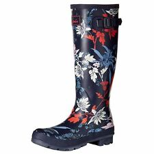 Joules Floral Print French Navy Fay Floral Womens Rubber Tall Wellies Rain Boots