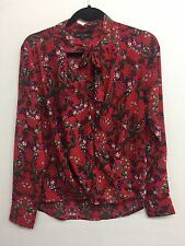 Women Ladies New Smart V Neck Red Floral Tie Neck Wrap Over Blouse/Top UK 8-16