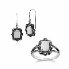 Sterling Silver Art Deco Mother of Pearl & Marcasite Drop Earring and Ring Set