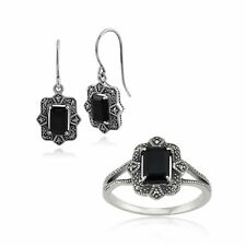 Sterling Silver Art Deco Black Spinel & Marcasite Drop Earring and Ring Set
