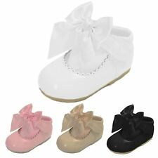 New Infants Babies Occasion Faux Leather Glossy Satin Bow Detail Slip On Shoes