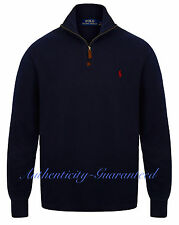 Ralph Lauren Polo Men's Half Zip Sueded Rib Cotton Jumper Navy/Grey/Red RRP £120