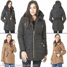 Womens Brave Soul Elasticated Long Padded Coat Quilted Zip Belted Italian Jacket