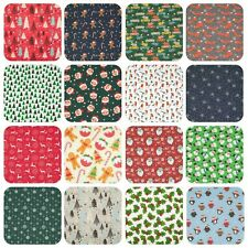 CHRISTMAS FABRIC Red Green REINDEER SNOWFLAKE SANTA Craft Polycotton 1/2 metre