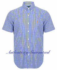 Ralph Lauren Custom Fit Seersucker Navy Gingham Short Sleeve Shirt M/L RRP £100