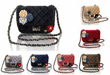 Womens Small Quilted Embellished Shoulder Handbag/ Ladies Cross-body Purse Bag