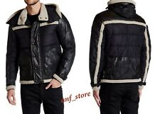 NWT Belstaff Morland Padded Blouson Hood Mens Black LEATHER Jacket $2195 ITALY