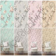 FINE DECOR CHIC FLORAL CHINOISERIE BIRD WALLPAPER IN GREY TEAL PINK DUCK EGG NEW