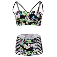 Floral High Waisted 2 pièces 3pc Maillots de bain jupe robe femme maillot