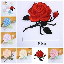 2X Rose Flower Iron on / Sew on Embroidered Patch Badge Applique Motif Flora