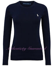 Ralph Lauren Women's Long Sleeve T-Shirt White Navy S-XL RRP £50