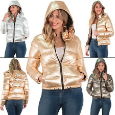 Womens Puffer jacket Metallic Bomber Hooded Padded Winter Ladies Parka Coat 8 16