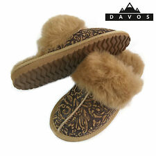 New Womens Ladies Deluxe Twinface 100% Real Sheepskin Mules Slippers EVA Sole FP