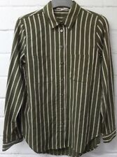 Womens Ladies New Casual Olive Green Striped Pocket Cotton Shirt Dress/Top 8-16